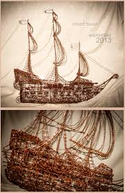 Wire Art Pirate Ship Copper Wire Wire Art By Robytoxicdeviantartcom