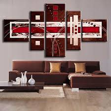 hot sale 5 pieces abstract unframed painting brown red cream abstract canvas painting set ocean ab5006 in painting calligraphy from home garden on  on brown wall art canvas with hot sale 5 pieces abstract unframed painting brown red cream