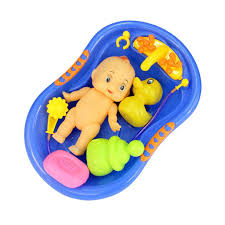 Blue Plastic Bathtub with Baby Doll Bath Toy Set: Amazon.co.uk ...