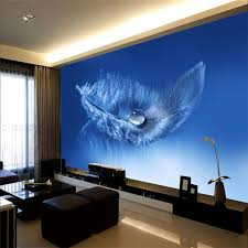 wallpaper for home office. 3D Wallpaper Home Decor Photo Background Whole Living Room Office Blue Feather Cafe Hotel Large Wall For L