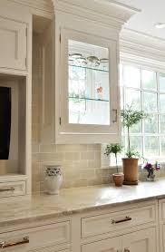beige backsplash white cabinets. Beige Subway Tile Kitchen Traditional With Beaded Inset Custom Cabinetry Cabinets White Countertop For Backsplash
