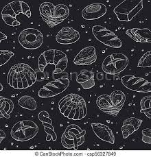 Bakery Seamless Background Hand Drawn Bread Seamless Pattern White