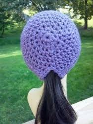 Ponytail Hat Crochet Pattern Impressive Hand Crocheted Womens Ponytail Hat In Dusty By FromYourNeckUp
