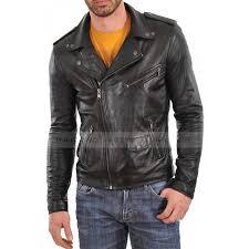men s asymmetrical black leather biker jacket zoom men s asymmetrical