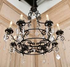 amazing of iron and crystal chandelier vintage french wrought iron and crystal chandelier at 1stdibs