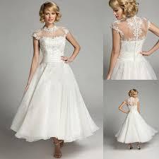 2017 vintage tea length wedding dresses cheap high neck cap