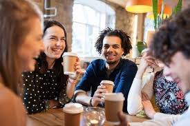drinking coffee with friends. Contemporary Friends Happy Friends Drinking Coffee At Restaurant Stock Photo  72886248 Intended Drinking Coffee With Friends R