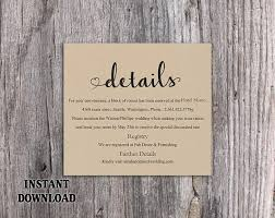 Wedding Enclosure Card Template Diy Burlap Wedding Details Card Template Editable Word File Instant