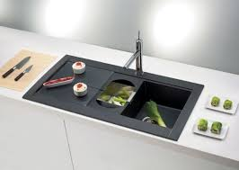 high end kitchen ideas with perfect black stainless steel sink using modern white cabinet