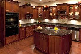 Modern Cherry Kitchen Cabinets Black Granite Wood Regarding With Throughout Creativity Ideas