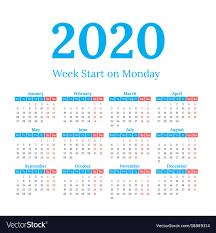 Image Of 2020 Calendar 2020 Calendar Start On Monday