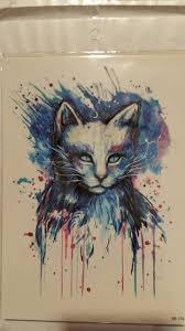 флеш тату боди арт синий кот 21x15 см
