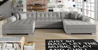 U Form Ecksofa Couch Sofa Wohnlandschaft Vento Bettkasten