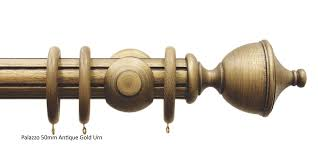 palazzo 50mm antique gold wooden curtain pole with urn finials