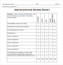 job interview template interview score sheet template resume template sample