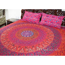 hand block printed indian red mandala king size bedding with pillows