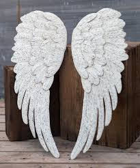 love this silver white angel wing wall décor set