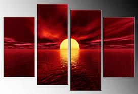 sunset over the sea various colours 4 panel canvas wall art picture 40 on wall art canvas picture print with red canvas wall art