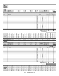 Basketball Score Sheets Printable Basketball Score Sheet