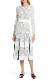 Long Sleeve Pleated Lace Midi Dress
