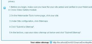 in v5 9 module will automatic create google video sitemap for your site to let you submit to google easily it is a valuable feature to improve your site