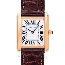 cartier tank solo silver dial brown leather strap las watch image 1