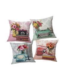 pillow radio. vintage camera, telephone, printer, radio throw pillow case cushion cover sofa home car