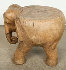 hand carved wooden elephant stool or occasional table very nice abstract hand