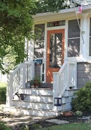 oh my gosh i may paint the front door orange why not i front porch railingsfront stairsoutdoor