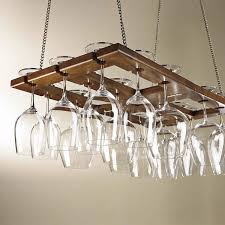 amusing metal hanging wine glass rack with brown color design
