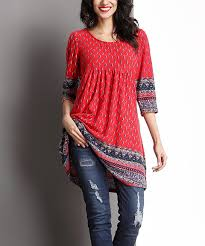 Red Border Empire-Waist Tunic | Clothes, Fashion, Clothes for women