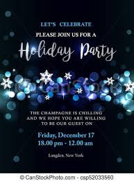 Holiday Party Invitation With Silver Blue Lights And Text Bokeh