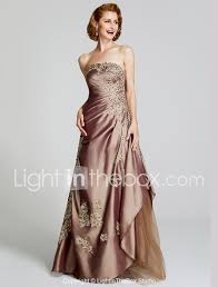 Light In The Box Mother Of The Bride Dresses A Line Strapless Floor Length Taffeta Beaded Lace Mother