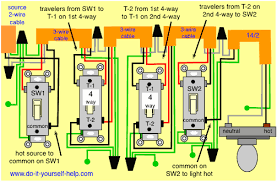 4 way switch wiring diagrams do it yourself help com 2 Light Switch Wiring Diagram control lights from four locations wiring diagram, multiple 4 way switches wiring diagram 2 way light switch
