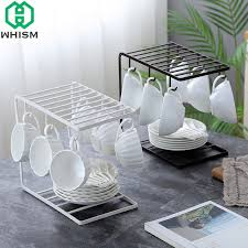 Coffee Cup Display Stands Beauteous WHISM Metal Storage Rack Coffee Cup Hanging Holder Iron Paint Drying