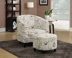 accent chair with ottoman. ACCENT CHAIR/OTTOMAN (OFF WHITE FRENCH SCRIPT PATTERN) Accent Chair With Ottoman