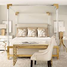 Bedrooms:Beauty Contemporary Bedroom With White Gold Canopy Bed And Unique  Golden Bedside Table And