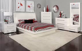 Dimora White Dressing Chest/Queen Upholstered Bed Set