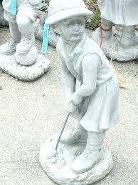 boy playing golf garden statues little angel