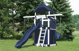 blue and white playset for a small backyard