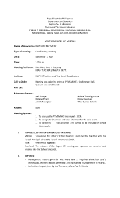 Format For Minutes Writing Samples Of Writing Minutes Meeting Free Sample Template