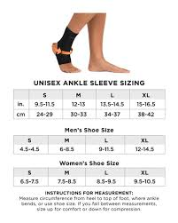 Ankle Bracelet Size Chart Womens Core Compression Ankle Sleeve