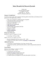 Salon Receptionist Sample Resume Hiv Counselor Sample Resume