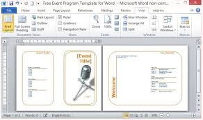 Template For A Program For An Event Free Event Program Template For Word