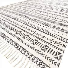 sentinel 4 x 6 ft black off white cotton block print accent area dhurrie rug flat