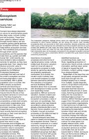 ecosystem services current biology first page of article