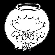 優しく微笑み手を組む天使の女の子塗り絵かわいい無料イラスト素材