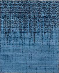 damask pattern blue handknotted rug