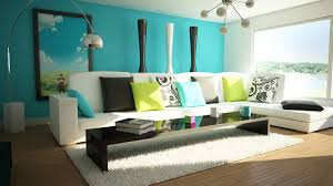 Turquoise Living Room Accent Wall With Tall Panorama Painting Decor