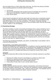 Retail Business Plan Outline Free Business Plan Template Online Store Boutique Business Plan